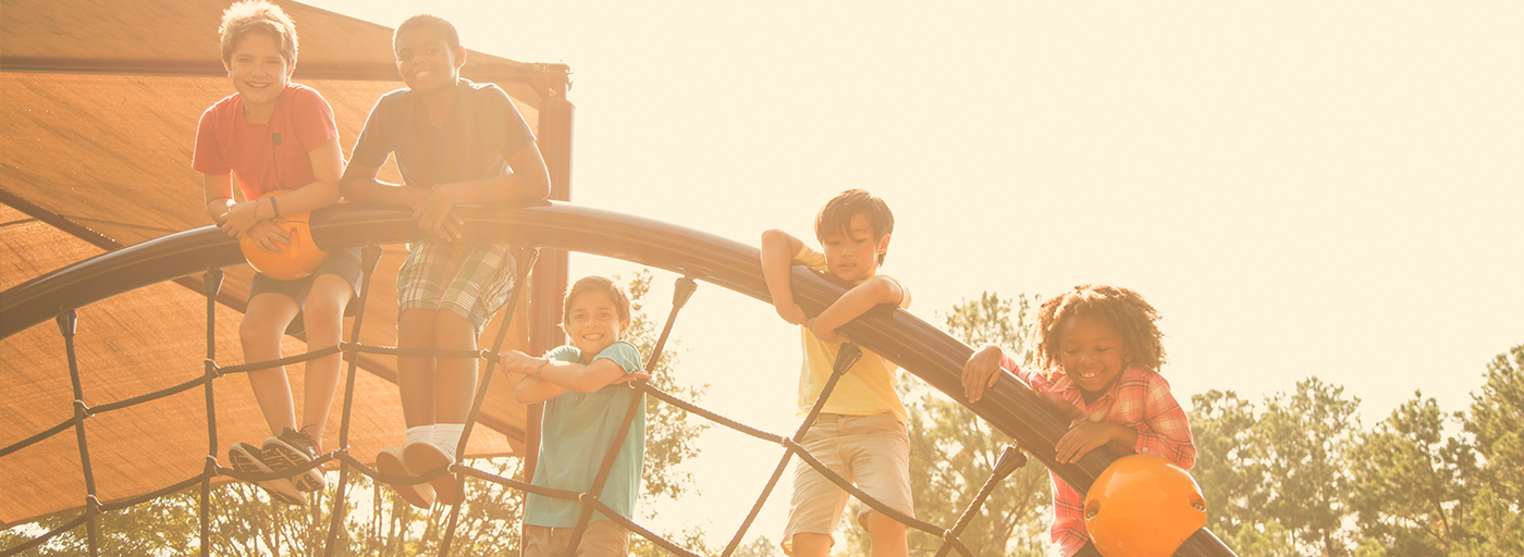kids playing on rope climber